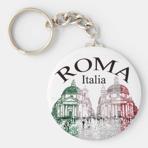 Roma Stamped Basic Round Button Keychain
