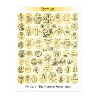 Roman Amulets - Engravings from Abraxas Gemstones Postcard