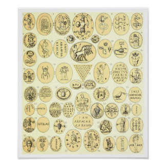 Roman Amulets - Engravings from Abraxas Gemstones Poster