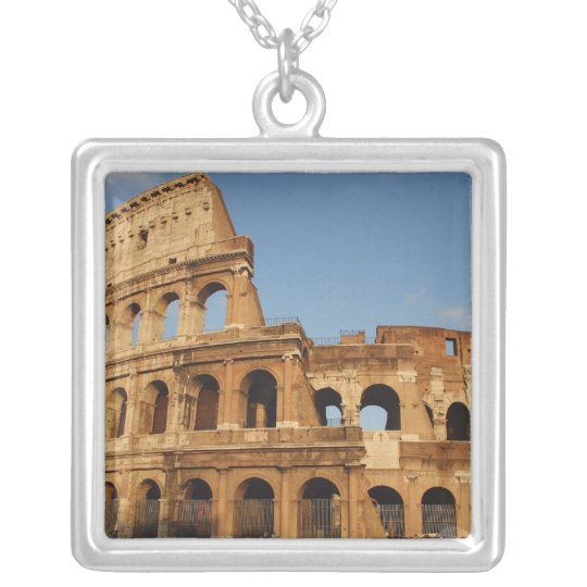 Roman Art. The Colosseum or Flavian 4 Silver Plated Necklace