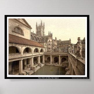 Roman Baths and Abbey Bath England Print