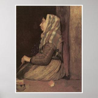 Roman Beggar Woman, 1857 Edgar Degas Poster