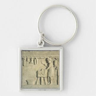 Roman Butcher's, relief Silver-Colored Square Keychain