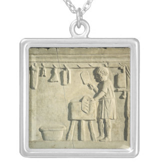 Roman Butcher's, relief Silver Plated Necklace