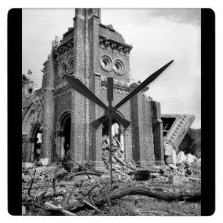 Roman Catholic cathedral, Nagasaki_War Image Square Wall Clock