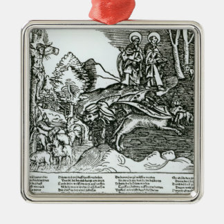 Roman Catholicism and Lutheranism Contrasted Square Metal Christmas Ornament