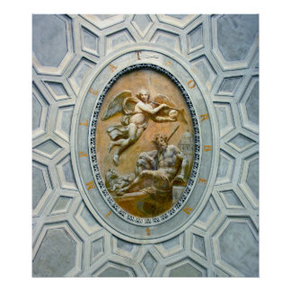 Roman Ceiling Latin Inscribed, Angel and God Poster