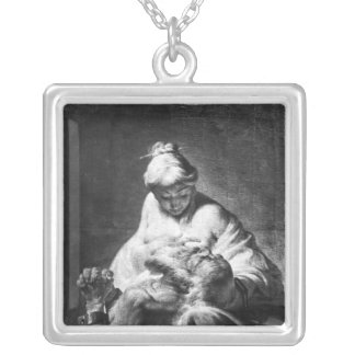 Roman Charity Square Pendant Necklace