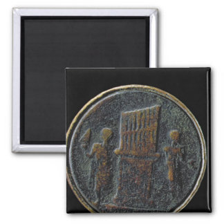 Roman coin depicting an organ 2 inch square magnet