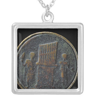 Roman coin depicting an organ silver plated necklace