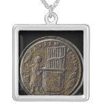 Roman coin depicting an Organ Square Pendant Necklace