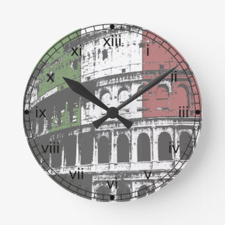 Roman Coliseum And Flag Round Wall Clock