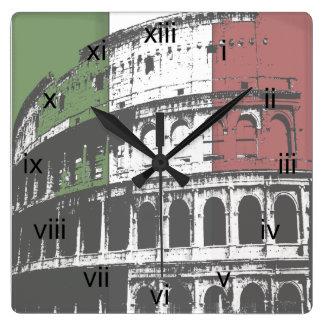 Roman Coliseum And Flag Square Wall Clock