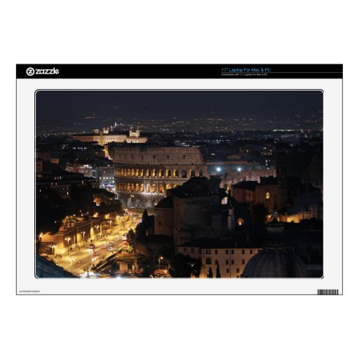 """Roman Colosseum at night 17"""" Laptop Decals"""