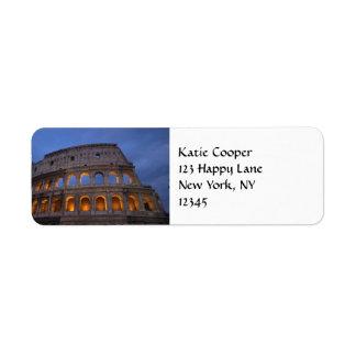 Roman Colosseum at Night Label
