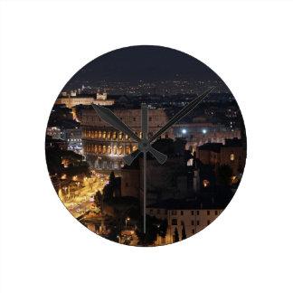 Roman Colosseum at night Round Clock
