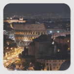 Roman Colosseum at night Square Sticker