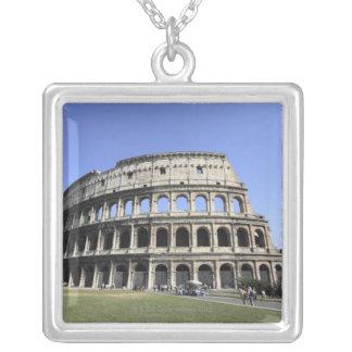 Roman Colosseum Lazio, Italy Square Pendant Necklace