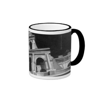 Roman Colosseum with Architectural Drawings Ringer Mug