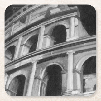 Roman Colosseum with Architectural Drawings Square Paper Coaster