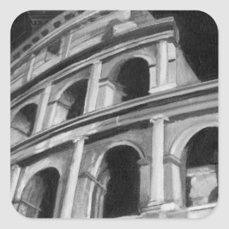Roman Colosseum with Architectural Drawings Sticker