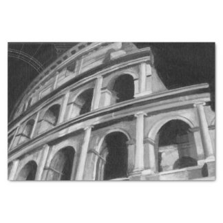 Roman Colosseum with Architectural Drawings Tissue Paper