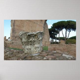 Roman Column Ruins Poster