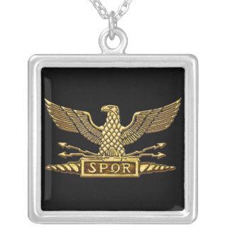 Roman Eagle Gold Square Pendant Necklace