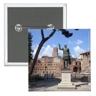 Roman emperor bronze statue at forum 2 inch square button