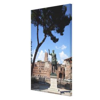 Roman emperor bronze statue at forum canvas print