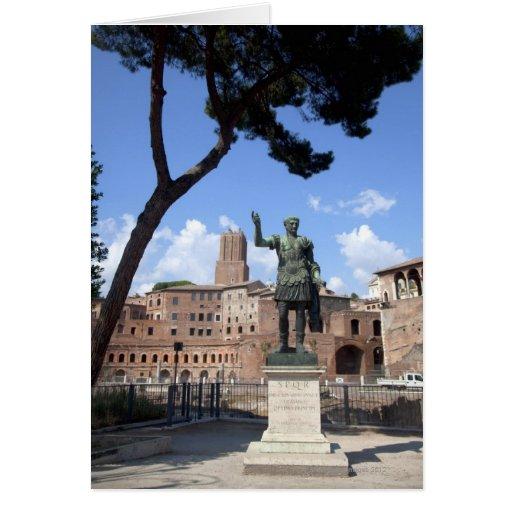 Roman emperor bronze statue at forum card