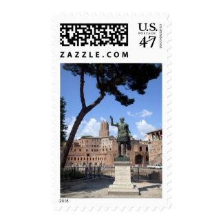 Roman emperor bronze statue at forum postage stamp