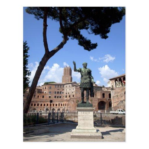 Roman emperor bronze statue at forum postcards