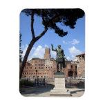 Roman emperor bronze statue at forum rectangular photo magnet