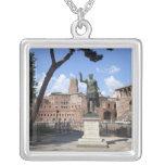 Roman emperor bronze statue at forum square pendant necklace