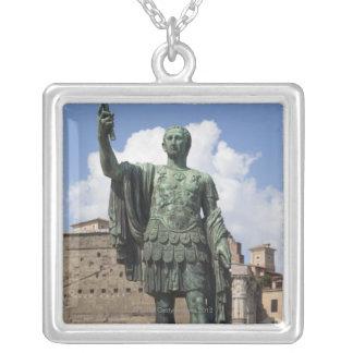 Roman Emperor statue Silver Plated Necklace