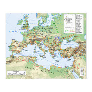 Roman Empire Map During Reign of Emperor Hadrian Canvas Print