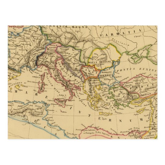Roman Empire under Constantine and Trajan Postcard