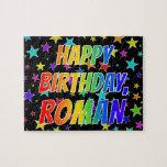 "[ Thumbnail: ""Roman"" First Name, Fun ""Happy Birthday"" Jigsaw Puzzle ]"