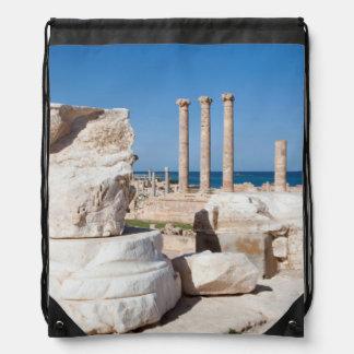 Roman Forum And Remains Of Statue, Sabratha, AZ Drawstring Backpack