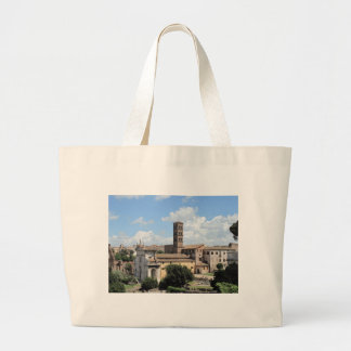 Roman Forum Church with Romanesque bell tower Canvas Bags