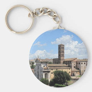 Roman Forum Church with Romanesque bell tower Keychain