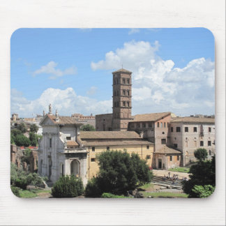 Roman Forum Church with Romanesque bell tower Mouse Pad