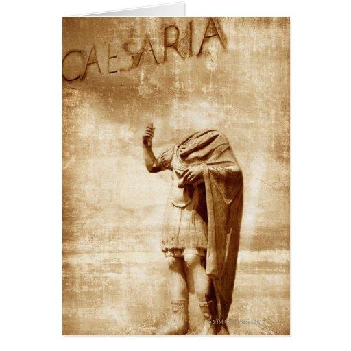 roman forum, headless statue of roman leader greeting cards