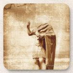 roman forum, headless statue of roman leader drink coaster