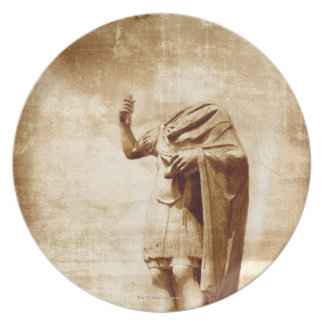 roman forum, headless statue of roman leader melamine plate