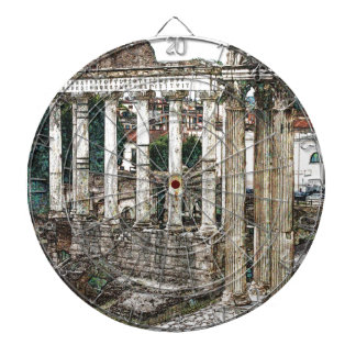 Roman Forum in Chalk Dartboard With Darts