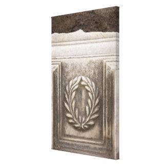 roman forum, laurel design on marble stone block canvas print