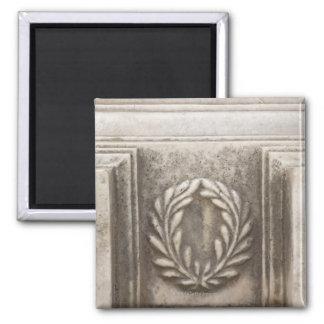 roman forum, laurel design on marble stone block fridge magnet