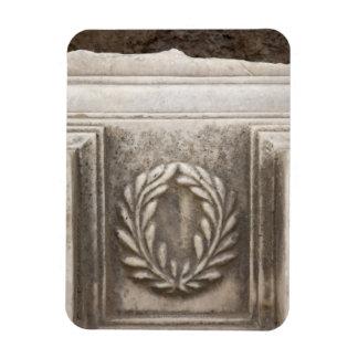 roman forum, laurel design on marble stone block magnet
